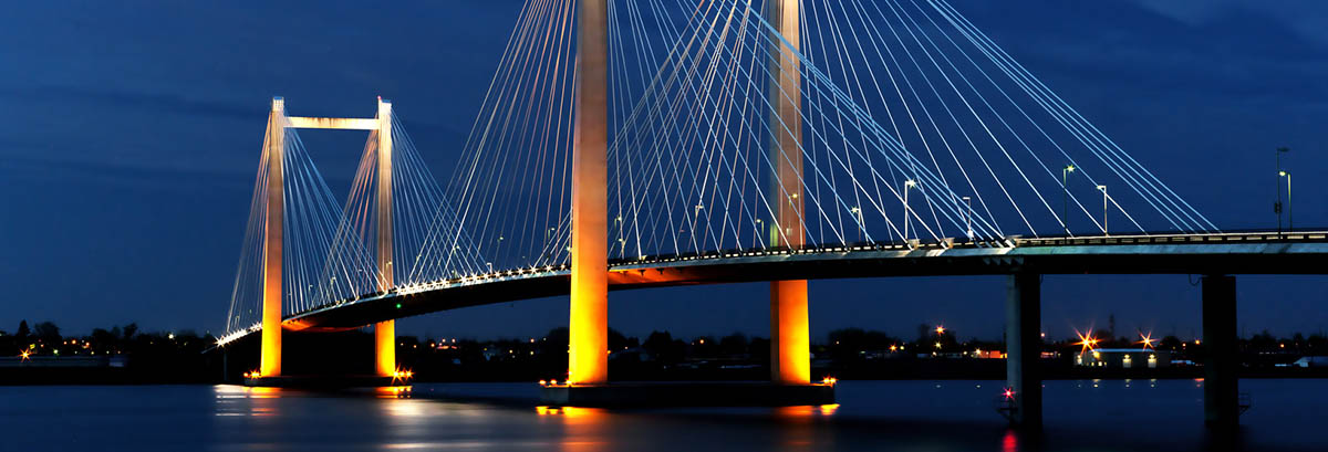 Cable bridge in the evening.
